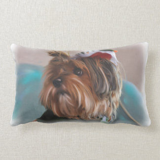Cute Yorkshire terrier dog  digital oil painting Lumbar Pillow
