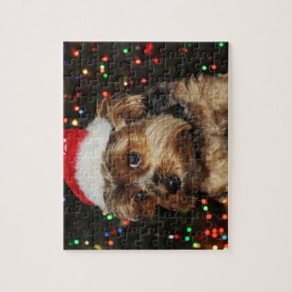 Cute Yorkshire Terrier dog with Santa hat Jigsaw Puzzle