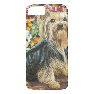 Cute Yorkshire Terrier in Pansy Garden iPhone 8/7 Case