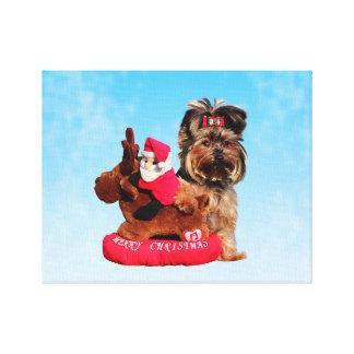 Cute Yorkshire Terrier Merry Christmas Canvas Print