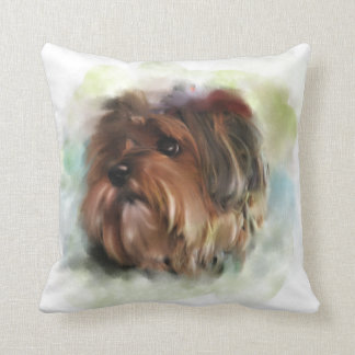 Cute Yorkshire Terrier Puppy Dog Art Throw Pillow