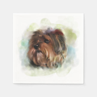 Cute yorkshire terrier puppy dog digital art napkin