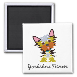 Cute Yorkshire Terrier Tilted Head Cartoon Magnet