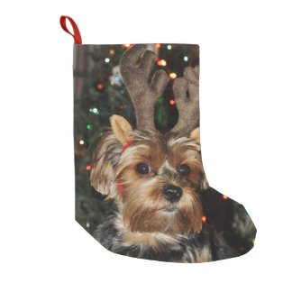 Cute Yorkshire Terrier with Reindeer Antlers Small Christmas Stocking