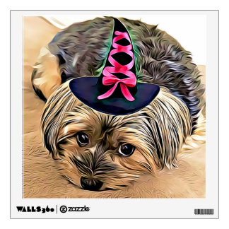 Cute Yorkshire Terrier with witch hat Wall Sticker