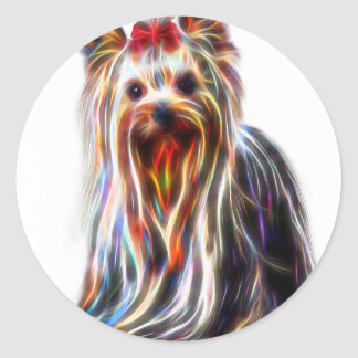 Cute Yorkshire Yorkie Terrier Classic Round Sticker