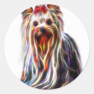 Cute Yorkshire Yorkie Terrier Round Sticker