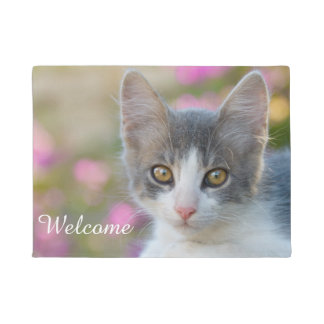 Cute Young Bicolor Cat Kitten Fluffy Photo Welcome Doormat