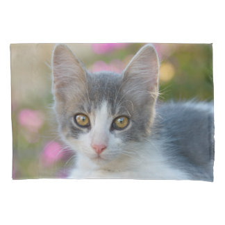 Cute Young Bicolor Cat Kitten Pink Flowers Photo Pillowcase