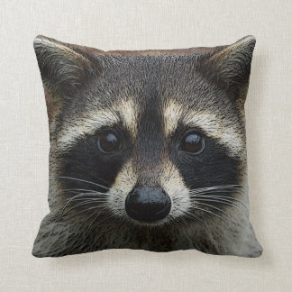 Cute Young Raccoon Face Mask and Stare Close Up Throw Pillow
