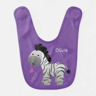 Cute Zebra and Butterfly Personalized Baby Bib