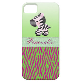 Cute Zebra Faux Green & Pink Texture Animal Print Case For The iPhone 5