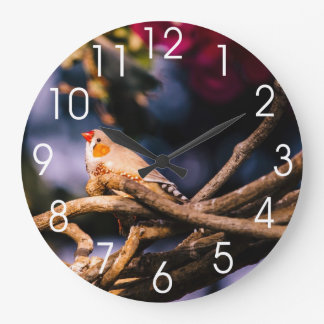 Cute Zebra Finch On Twigs Large Clock