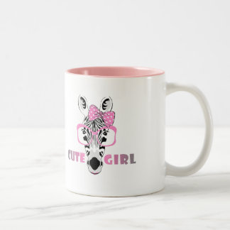 Cute Zebra Knows A Cute Girl; Cartoon & Slogan Two-Tone Coffee Mug