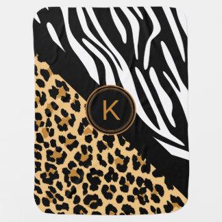 Cute Zebra Leopard Print Monogram Baby Blanket
