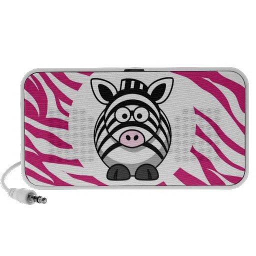 Cute Zebra on Pink Zebra Animal Print Zoo Gifts Travelling Speakers