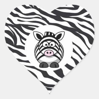 Cute Zebra on Zebra Print Zoo Animals Patterns Heart Sticker