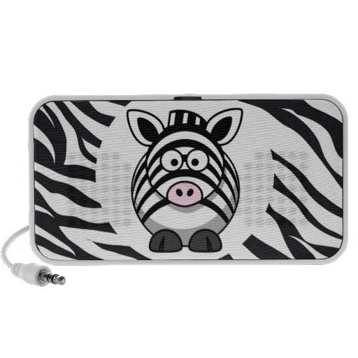 Cute Zebra on Zebra Print Zoo Animals Patterns Laptop Speaker