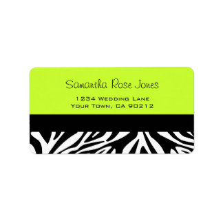 Cute Zebra Print Custom Lime Green Address Label