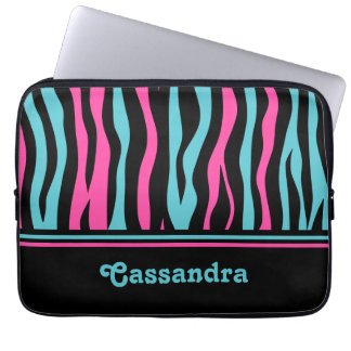 Cute zebra print punk in hot pink, black, and blue laptop sleeve