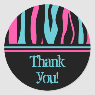 Cute zebra print punk in hot pink, black, and blue round sticker