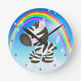 Cute Zebra & Rainbow Clock