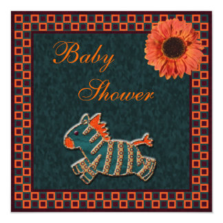 Cute Zebra & Sunflower Funky Neutral Baby Shower Personalized Announcements
