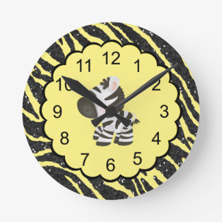 Cute Zebra & Yellow & Black Glitter Animal Print Round Clock