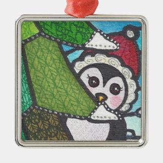 cute zentangle penguin ornament Silver-Colored square ornament