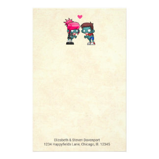 Cute Zombie Couple in Love Illustration Stationery