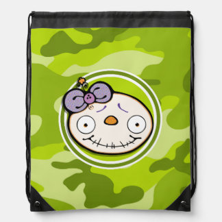 Cute Zombie Girl; bright green camo, camouflage Backpacks