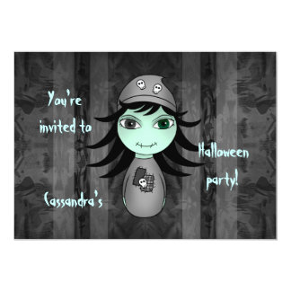 Cute zombie Halloween kids party Card