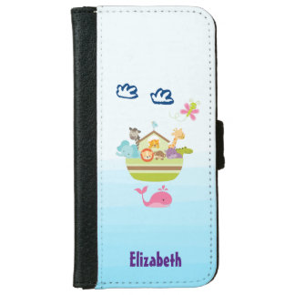 Cute Zoo Animal Ark with a Butterfly and Whale iPhone 6 Wallet Case