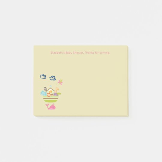Cute Zoo Animal Ark with a Butterfly and Whale Post-it Notes