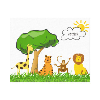 Cute Zoo Safari Jungle Animals Any Gender Baby Stretched Canvas Prints