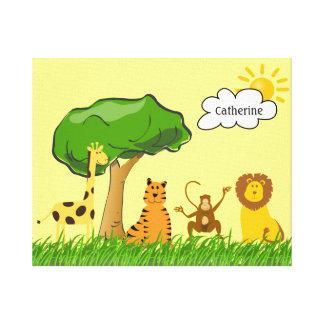Cute Zoo Safari Jungle Animals Custom Baby Name Stretched Canvas Print