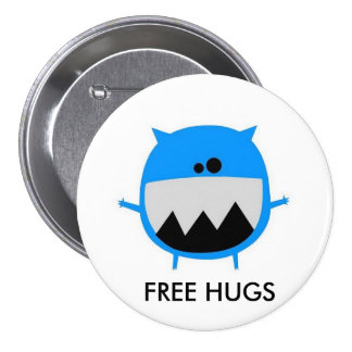 cutebluemonster, FREE HUGS 3 Inch Round Button