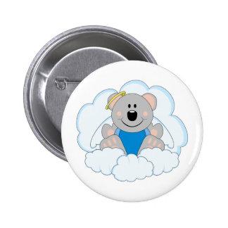 Cutelyn Baby Boy Angel Koala Bear On Clouds Pinback Button