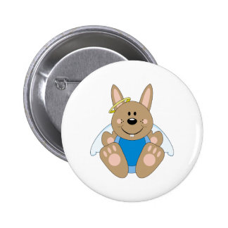 Cutelyn Brown Baby Boy Angel Bunny Pinback Buttons