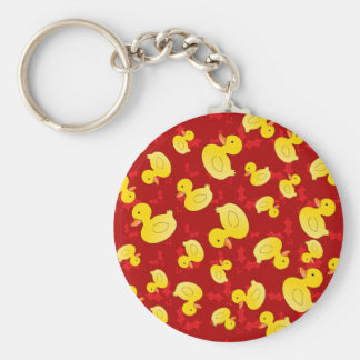 Cuter yellow rubber ducks red christmas holly basic round button keychain