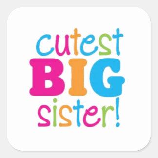 CUTEST BIG SISTER SQUARE STICKER