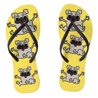 Cutest Crazy Pugs Flip Flops