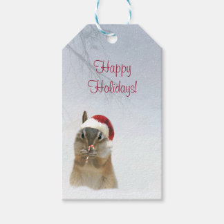 Cutest Ever Holiday Gift Tags Chipmunk and Snow
