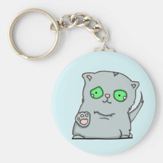 Cutest green-eyed grey kitten keychain