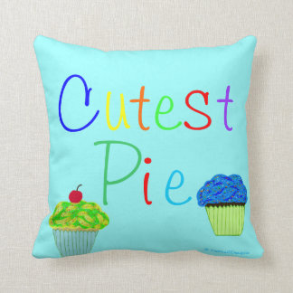Cutest Pie Yellow & Blue Cupcakes PERSONALIZE Throw Pillow