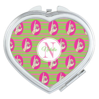 Cutest pink girly love compact mirror
