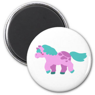 Cutesy Pink Pony 2 Inch Round Magnet