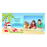 CuteTropical Christmas Santa Family Photo Card.