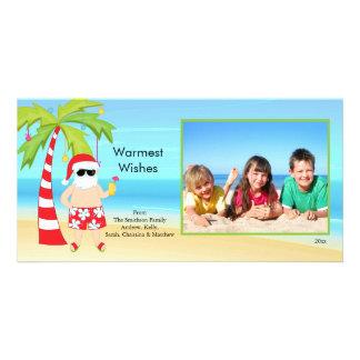 CuteTropical Christmas Santa Family Photo Card. Custom Photo Card