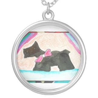 Cutey Black Scotty terrier pink rainbow Round Pendant Necklace